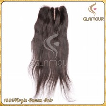 Natural color silk straight 3 way part closure top quality virgin indian hair lace closure