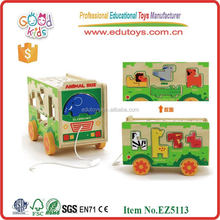 Venta caliente zoo de juguete autobús OEM de madera juguetes divertidos bus vehículos con alta buena calidad EZ5113