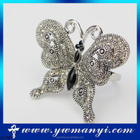 Smart fashion sliver plated crystal butterfly ring costume jewelry