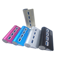 High Speed 4 port USB Hub with 4 LED light in Aluminum alloy case