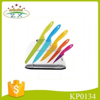 6pcs non-stick coating knife set with transparent block