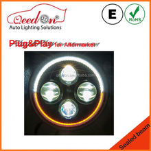 Qeedon OEM 7 inch black and sliver head lamp for d22