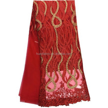Red african lace fabric for lace wedding dresses embroidery designs lace fabric