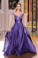 2015 Modest elegante Elie Saab vestido de noche una línea manga del casquillo del cordón Applique fluye larga de la gasa de Alibaba expreso vestidos ( ED243 )