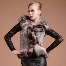 QC2391 natural chinchilla rabbit fur knitted vest waistcoat gilet with fox fur collar trim