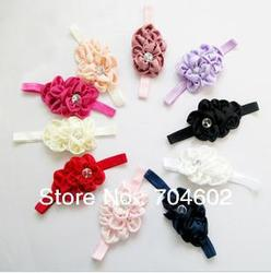 2013 New Arrival Fabric Flowers Headband For Infant Baby Flower Hair Crystal Jewelry Accessories With Headband 30pcs/lot FD097