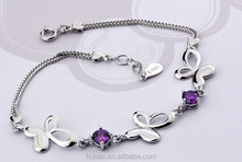 New design!! S925 Butterfly diamond bracelet Amethyst Series