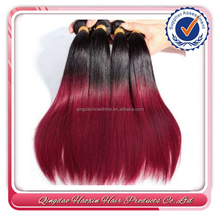Cheap silky straight wave ombre color burgundy human hair weft