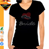 Bride rhinestone designs for bride to be fashion v neck t-shirts