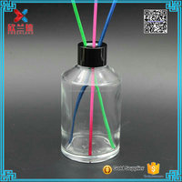 Air Freshener 200ml round glass reed diffuser jar bottle with aluminum aluminum screw cap lid