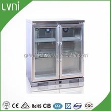 LVNI 2doors stainless steel beverage display counter top fridge /back bar bottle cooler