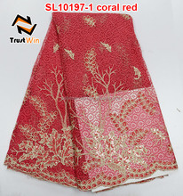 high quality african lace fabrics cord coral red bridal wedding lace sl10197
