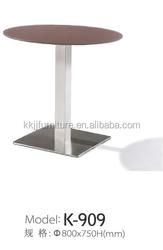 Foshan stainless steel garden tempered glass round dining table K-909