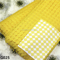 New fashion design Bright yellow color Delicate african soluble laceG025