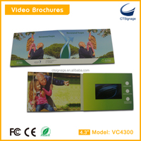 "4.3"" invitation lcd video greeting card 4 channel video card lcd video greeting card for presentation"