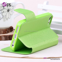 PC+ leather flip case for iphone 5s with holster stand design fashion summer green
