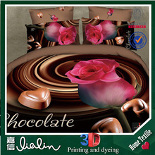 High quantity top sale rose and chocolate style fashion home textile king and queen 3d duvet cover set/bedding set