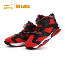 ERKE 2015 HOT kids powerful shock absorption high cut basketball shoes child factory basketball shoes with velcro wholesale
