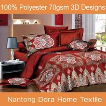 Nantong 3d printed 100% brushed polyester fabric comforter set