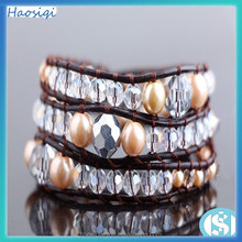 4mm White crystal beads &6mm pearl leather wrap bracelet