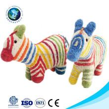 2015 Wool handmade felt wild animal toy fashion cute soft zebra toy colorful felt animal