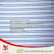 wholesale 100% cotton long stapled blue and cyan stripe fabric