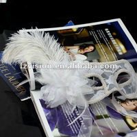 High Quality PVC white red black Semitransparent Venice Party mask with ostrich feather lace