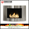 Glass indoor wall mounted electric fireplace with lamp light