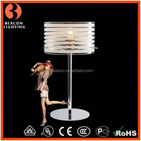 Alibaba Europe new arrival hot sale clear glass shade with white lines modern fashion home goods table lamps MT8182-1