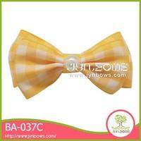 Yellow and white plaid christmas tartan curly ribbon bows