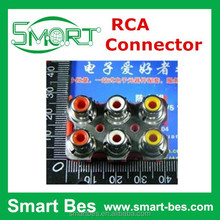 Smart Bes 6way Video and audio Connector lotus RCA socket, red white and yellow Audio Output Connector
