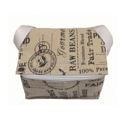 Whole printing jute fabric fitness insulated lunch cooler bag for beer