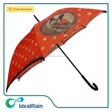 Lovely pet dog printed black wood handle umbrella for women