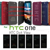 Wholesale Cheap China High Quality Dot View Holder Flip Cover Case for HTC E8, For HTC E8 Smart Case