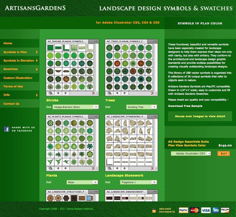 Artesanos jardines dise o del paisaje s mbolos en plan de - Software diseno jardines ...