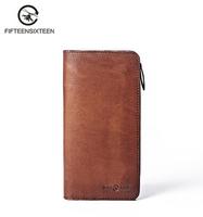 Long leather wallet vertical Korean summer retro soft handcraft purse