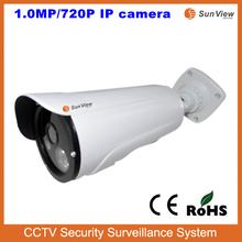 SunView New model 1.0 Megapixel IR bullet 720P IP camera outdoor pan