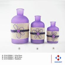 Decrative transparent machine made purple glass vase