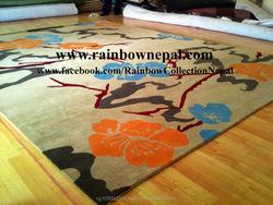 Handmade Himalayan Cream Beige Turquoise Blue Flower Wool Carpet Rug 200x250 cm