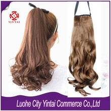 2015 Alibaba express Long Wavy Ponytail Hair Highlight Blonde Ponytail Extensions Claw on Pony Tail