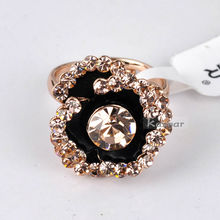Enamel Rose Flower Adjustable Ring Four Color Available R2401
