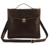 High Quality Drop Shipping Top Grade Fashion Vintage Genuine Leather Tablet Messenger Bag For Men #7073C