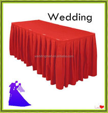 Polyester plain visa table skirts wedding banquet conference table skirts stage skirts
