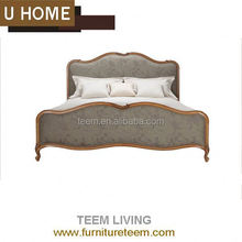 2014 new design french style bedroom furniture king size bed genuine leather upholstery bed