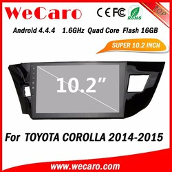 WECARO Gps Navigation System Android 4.4 Car Dvd Player For Toyota Corolla 2015 Left Hand Drive