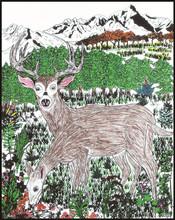 "Rili 16""*20"" Deer Doodle Velvet Art Coloring Posters"