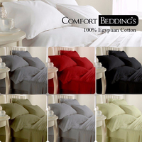 Egyptian Cotton Hotel Fitted Sheet Extra Deep 300 Thread And Duvet Cover Bedroom Linen
