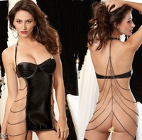 New style hot fashion women sexy lingerie leather nude lingerie for young ladies