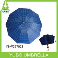 Cheap plaid fabric man large 3 fold umbrella classic check printing