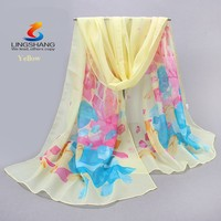 2015 Fancy Georgette Silk Scarfs Shawls Muffler Sarongs Flowers Pattern Muffler Printed Scarves Mix Colors